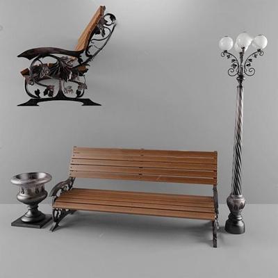 公园椅3D模型【ID:37091333】