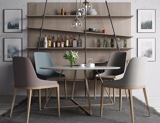 北欧餐桌椅组合3D模型【ID:37099167】