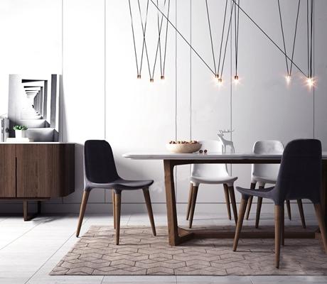 现代北欧餐桌椅组合3D模型【ID:37099765】