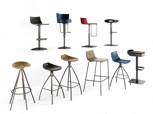 现代吧椅组合3D模型【ID:37099816】