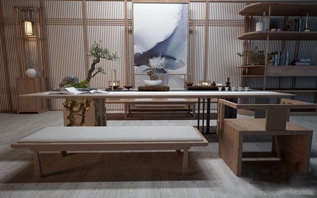 禅意茶桌椅3D模型【ID:37100160】