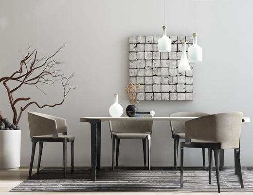 现代桌椅吊灯组合3D模型【ID:37100565】