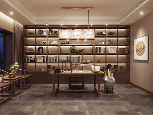 新中式书房3D模型【ID:37124871】