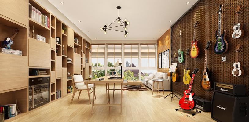 现代书房吉他装饰墙活动休闲区3D模型【ID:37124976】