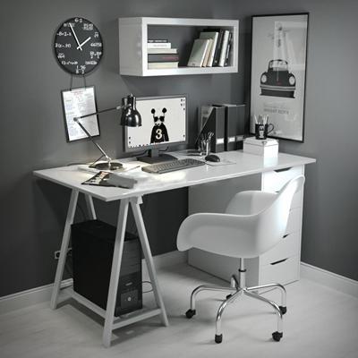 北欧书桌椅组合3D模型【ID:37125278】
