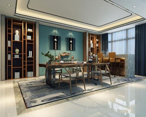 新中式茶室3D模型【ID:37125570】
