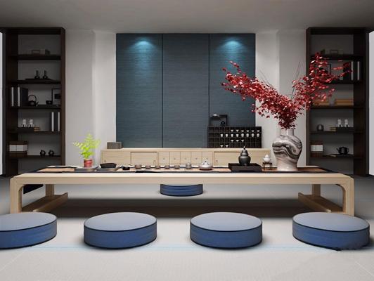 新中式茶室3D模型【ID:37125671】