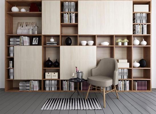 现代书柜单椅组合3D模型【ID:37125779】