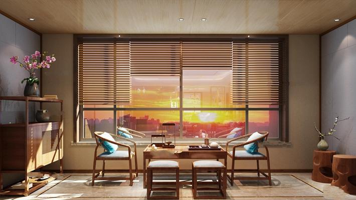 中式茶室茶桌椅装饰柜摆件组合3D模型【ID:37126079】