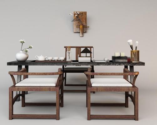 中式茶台桌椅组合3D模型【ID:37126571】