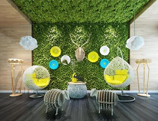 现代吊椅绿植墙落地灯鹿头挂件组合3D模型【ID:37141982】