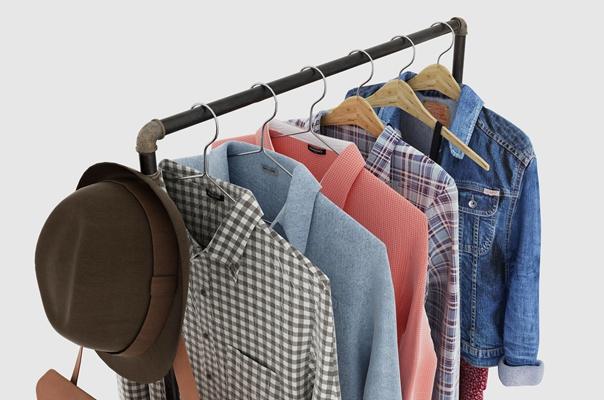 现代男装衬衣衣架鞋子商展柜组合3D模型