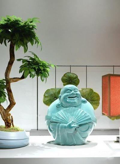 中式笑佛雕塑盆栽台灯组合3D模型【ID:319742825】
