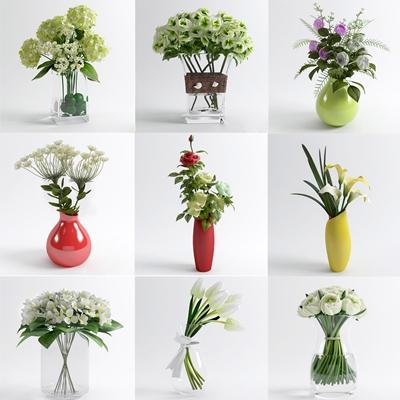 现代陶瓷玻璃花瓶玫瑰花马蹄莲组合3D模型下载【ID:37143383】
