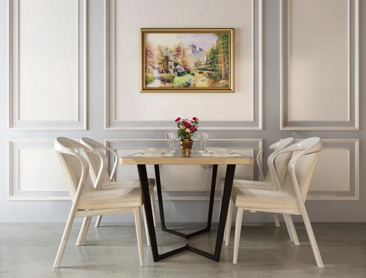 现代实木餐桌椅装饰画组合3D模型【ID:37168944】