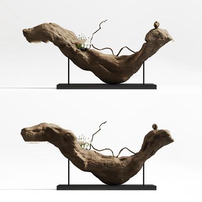 新中式根雕摆件3D模型【ID:37169586】