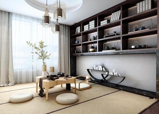 中式茶室休息室3D模型【ID:37170942】