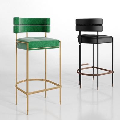 现代金属皮革吧台椅组合3D模型【ID:37171216】
