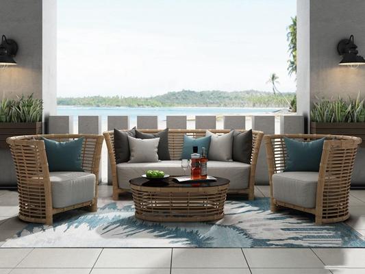 现代户外沙发藤椅组合3D模型【ID:37173033】