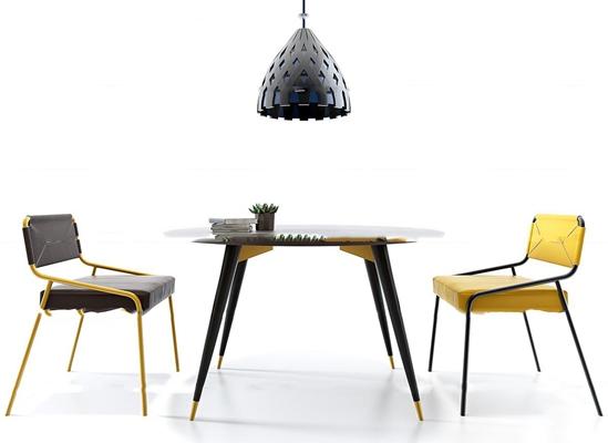 现代圆形桌椅吊灯组合3D模型【ID:37173667】