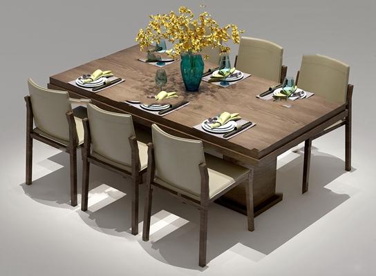 现代实木餐桌椅餐具组合3D模型【ID:37173744】