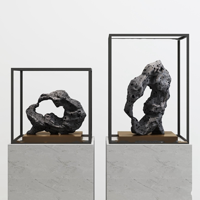 现代石头雕塑摆件3D模型【ID:37174780】