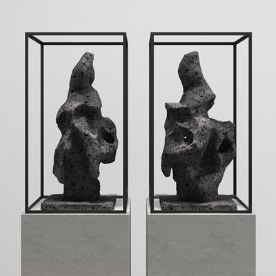 新中式石头雕塑摆件组合3d模型【ID:37175080】