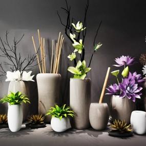 现代花艺花瓶陈设品组合3D模型【ID:37175187】
