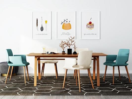 现代实木餐桌椅装饰画摆件组合3D模型【ID:37176741】