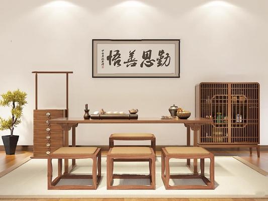 新中式泡茶桌边柜组合3d模型【ID:37177565】
