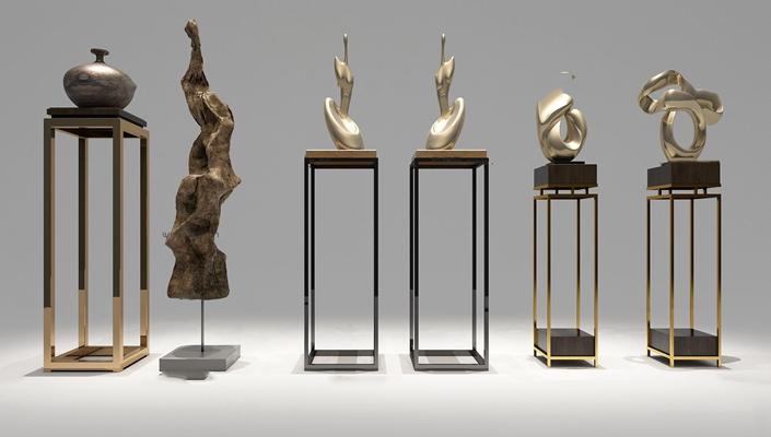 现代带底座雕塑组合3D模型【ID:37177684】
