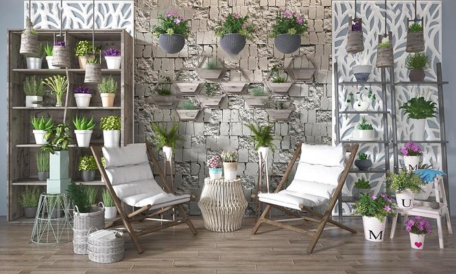 现代户外休闲椅植物盆栽组合3d模型【ID:37177830】
