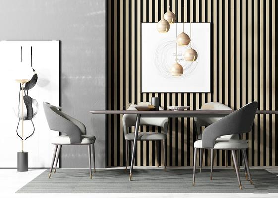 北欧餐桌椅摆件组合3d模型【ID:37180447】
