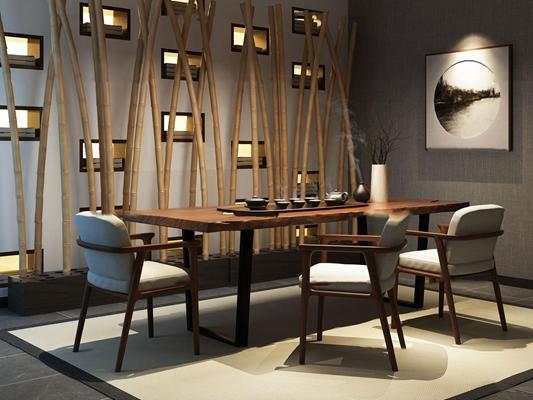 新中式泡茶桌椅茶具组合3d模型【ID:37181069】