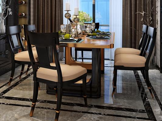 现代餐桌椅餐具组合3D模型【ID:37181340】