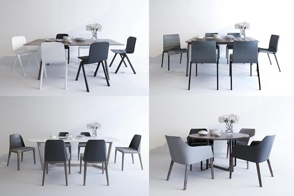 现代餐桌椅摆件组合3d模型【ID:37183246】