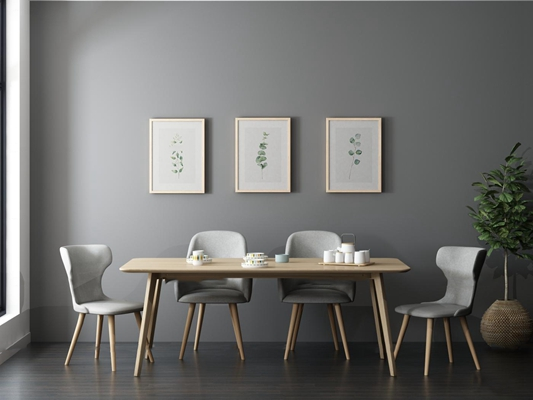 北欧餐桌椅挂画组合3d模型【ID:37185746】