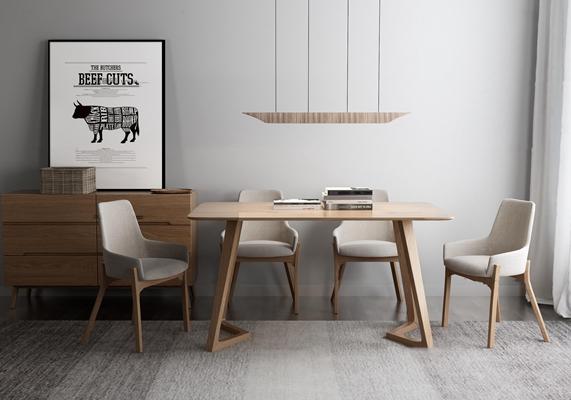 北欧餐桌椅边柜组合3d模型【ID:37186746】