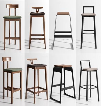 现代吧台椅组合3d模型【ID:37186811】