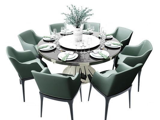 现代圆形餐桌椅餐具3D模型【ID:37187445】