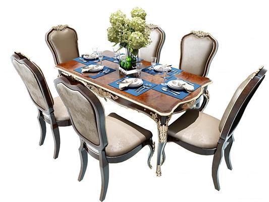 欧式餐桌椅餐具3D模型【ID:37187448】