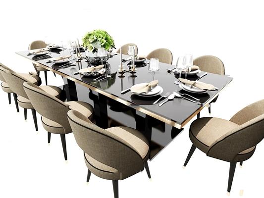 现代餐桌椅餐具组合3D模型【ID:37187744】