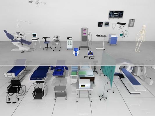现代医疗设备组合3D模型【ID:37189519】