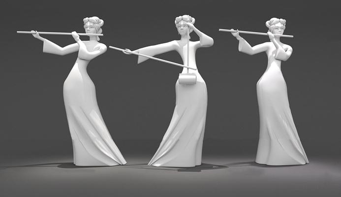 现代复古歌女人物雕塑3D模型【ID:37189880】