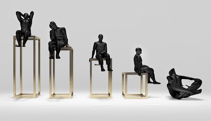 现代艺术人物雕塑3D模型【ID:37189981】