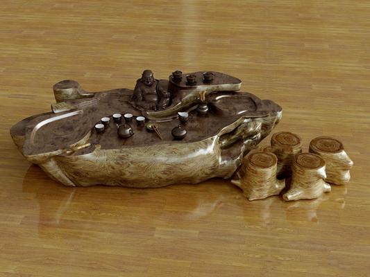 中式根雕茶台茶具组合3D模型【ID:37190164】