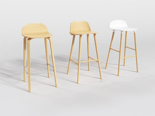 现代实木吧椅组合3D模型【ID:37190617】