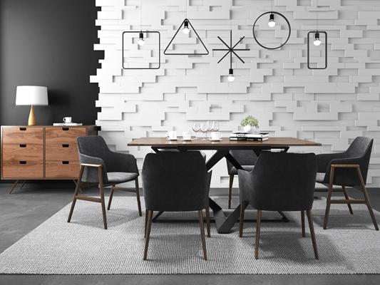 北欧休闲餐桌椅边柜组合3d模型【ID:37191945】
