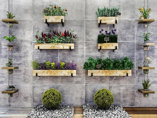 现代墙面绿植盆栽组合3D模型【ID:37192185】