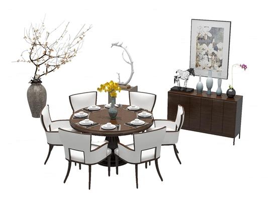中式實木圓形餐桌椅邊柜組合3D模型【ID:37192442】